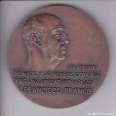 Medallas históricas: GRAN MEDALLA FRANCISCO FRANCO ESCUDO ESPAÑA LA PATRIA SE HACE Y SE ACRECE CADA DIA - DIAMETRO 8CM. Lote 183404920
