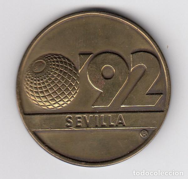 GRAN MEDALLA EN COBRE SEVILLA 92 LA CARTUJA (42MM-32,80GR). EBC+ (Numismática - Medallería - Histórica)