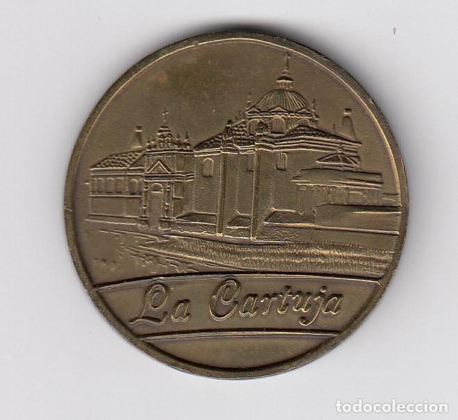 Medallas históricas: Gran medalla en cobre sevilla 92 la cartuja (42mm-32,80gr). ebc+ - Foto 2 - 183828701