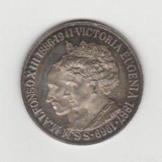 Medallas históricas: MEDALLA DE ALFONSO XIII Y VICTORIA EUGENIA-PLATA 925. Lote 184662403