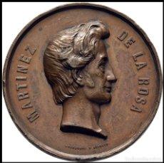 Medallas históricas: MEDALLA ISABEL II (1833-1843) MARTINEZ DE LA ROSA POETA MUERTE 1862 MUY RARA. Lote 186136293