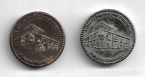 PAREJA DE MEDALLAS PLATEADA Y COBRE DEL PALACIO DE PIMENTEL DE VALLADOLID DIAMETRO 3 CM (Numismática - Medallería - Histórica)