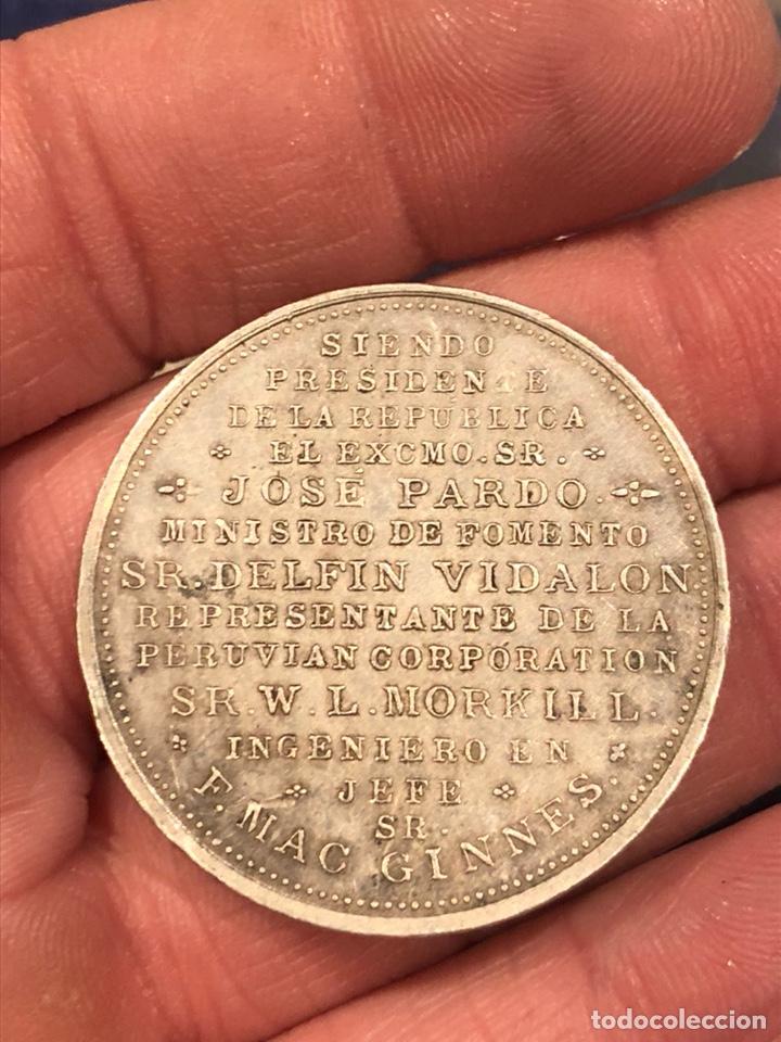 Medallas históricas: Rara medalla inauguración del ferrocarril del Cuzco 1908 plata - Foto 2 - 189490882