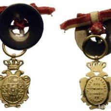 Medallas históricas: LOTE DE DOS PIEZAS (2) (S. XIX). PRIMER CONGRESO DEL COMERCIO ESPAÑOL EN ULTRAMAR ORO Y BOTÓN SOLAPA. Lote 189739413