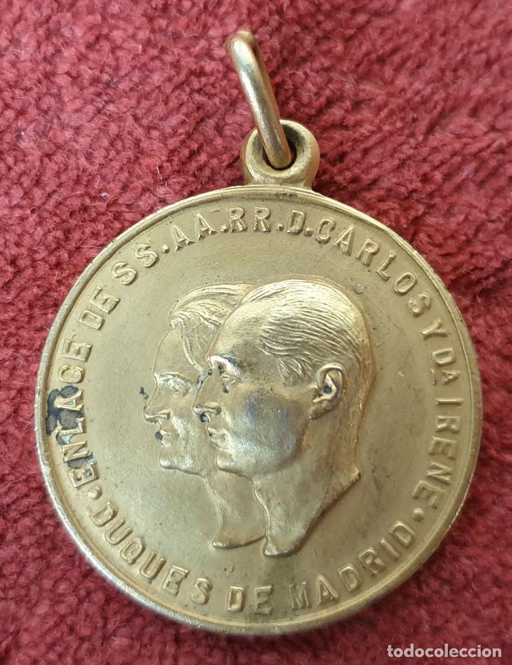 MEDALLA CARLISTA. ENLACE DE CARLOS HUGO DE BORBÓN E IRENE. ROMA 1964 (Numismática - Medallería - Histórica)