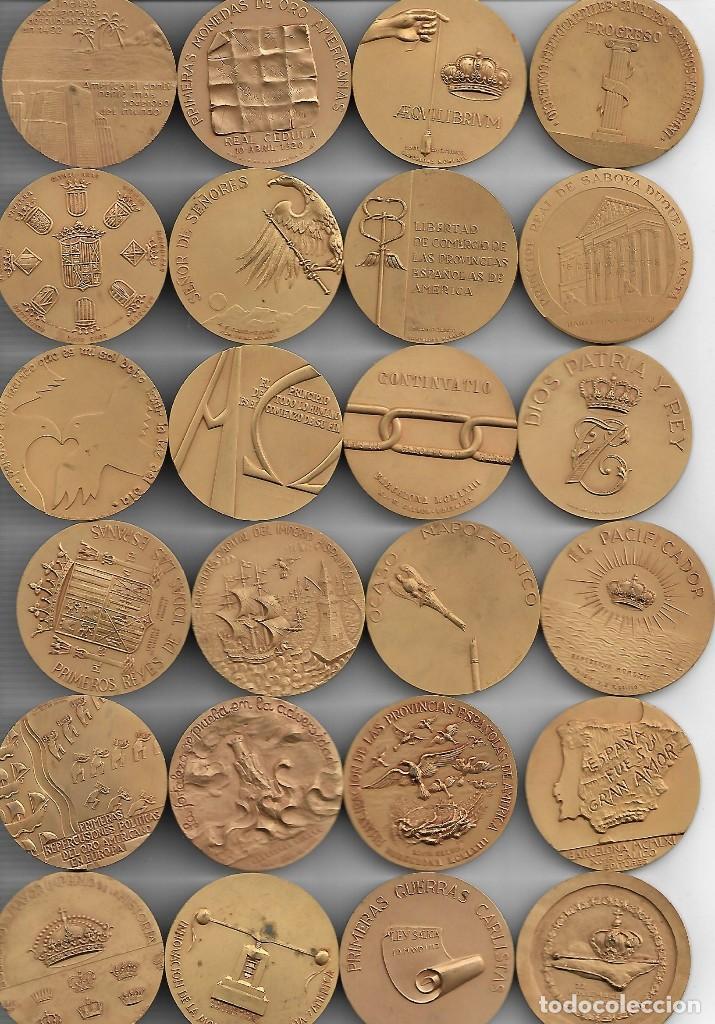 Medallas históricas: GRAN ESTUCHE CON 24 GRANDES MEDALLAS CON UN GRAN RELIEVE DE LOS REYES DE ESPAÑA-C.CALICO - Foto 2 - 193825977
