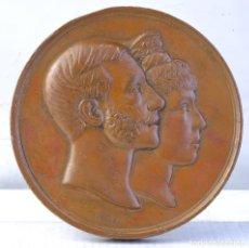 Medallas históricas: MEDALLA EN COBRE ALFONSO XII REY DE ESPAÑA MARIA CRISTINA REINA CASADOS 1879 - 70 MM. Lote 194148573