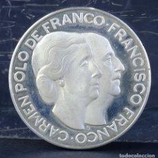 Medallas históricas: MEDALLA EN PLATA CARMEN POLO DE FRANCISCO FRANCO-40 MM. Lote 194149101