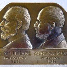 Medallas históricas: MEDALLA EN BRONCE J.M. LELIÈVRE FONDATEUR AUG SALMON DIRECTEUR 1883-1925 - 85 MM X 100 MM - MUY RARA. Lote 194149130