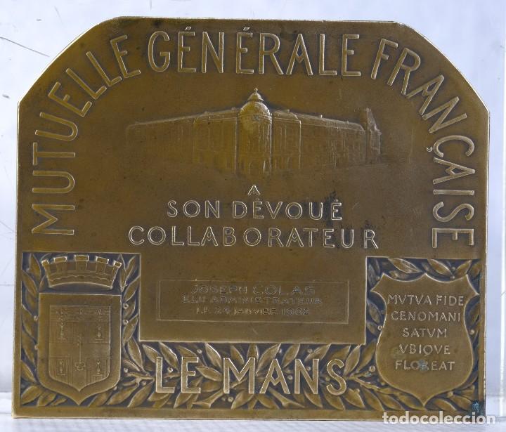 Medallas históricas: Medalla en bronce J.M. Lelièvre fondateur Aug Salmon directeur 1883-1925 - 85 mm x 100 mm - muy rara - Foto 2 - 194149130