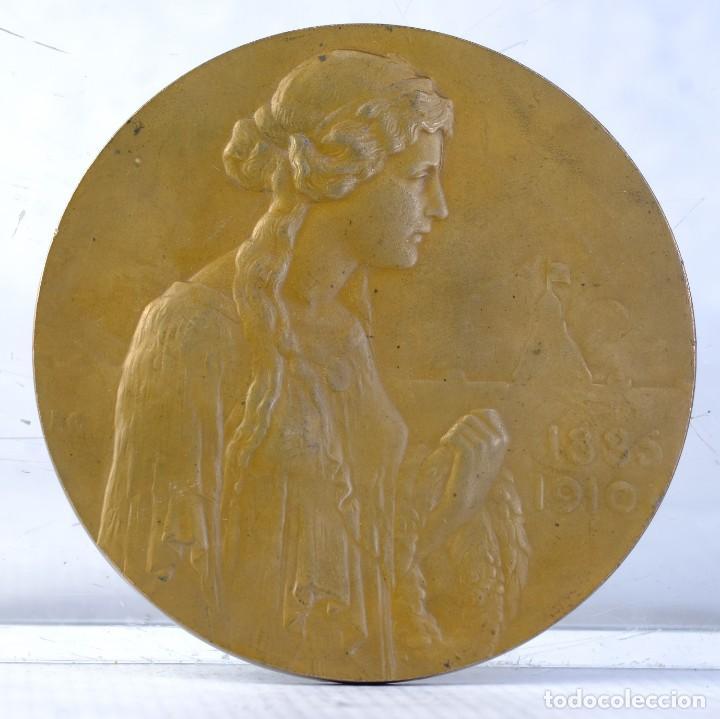 Medallas históricas: Medalla en bronce Friedrich II Grossherzog. Hilda Grossherzogin v Baden 1885 - 1910 - 79 mm - Foto 2 - 194149142