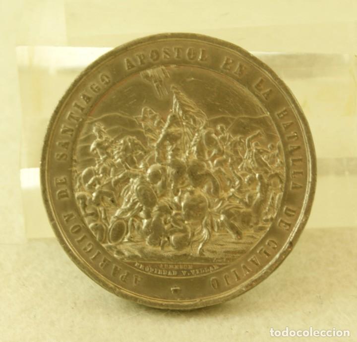 MEDALLA GALLEGA APARICION DE SANTIAGO APOSTOL EN LA BATALLA DE CLAVIJO (J.PAZ 904) CATEDRAL (Numismática - Medallería - Histórica)