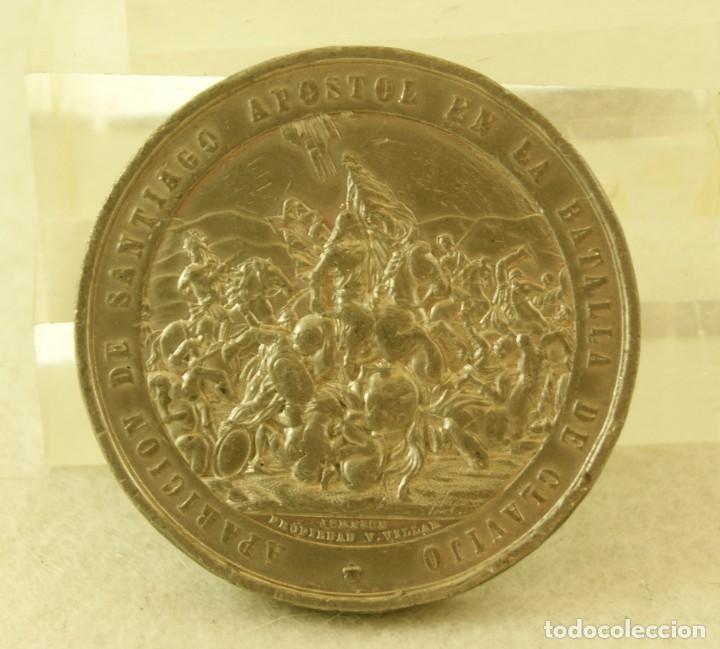 Medallas históricas: MEDALLA GALLEGA APARICION DE SANTIAGO APOSTOL EN LA BATALLA DE CLAVIJO (J.PAZ 904) CATEDRAL - Foto 2 - 194314166