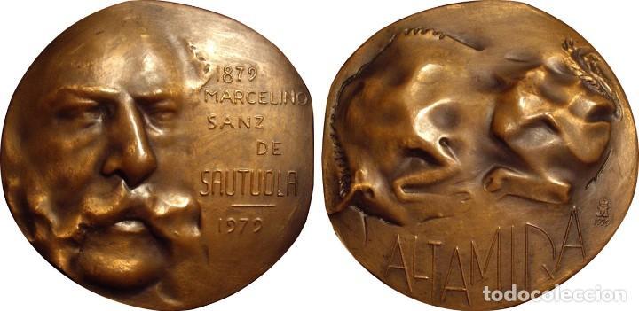 Medallas históricas: ESPAÑA. MEDALLA F.N.M.T. MARCELINO SANZ DE SAUTUOLA. CUEVAS ALTAMIRA. 1.979. BRONCE - Foto 3 - 194323151