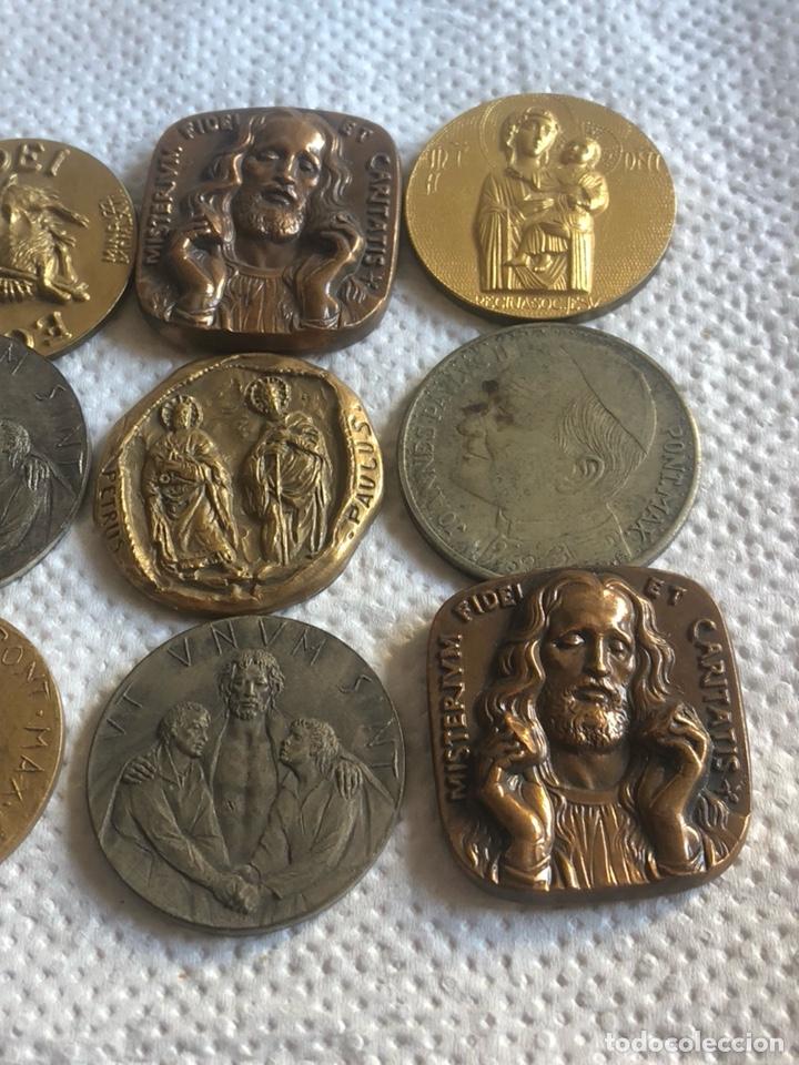Medallas históricas: Lote de 10 medallas papales antiguas - Foto 2 - 195262383