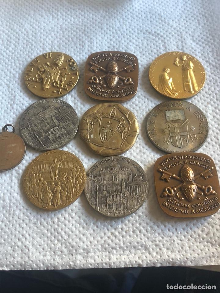 Medallas históricas: Lote de 10 medallas papales antiguas - Foto 4 - 195262383