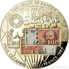Medallas históricas: FRANCIA, MEDALLA, EN MÉMOIRE D'UNE MONNAIE, 100 FRANCS PAUL CÉZANNE, FDC. Lote 195489777