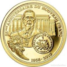 Medallas históricas: FRANCIA, MEDAL, 55ÈME ANNIVERSAIRE DU NOUVEAU FRANC, FDC, ORO. Lote 195490075