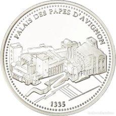 Medallas históricas: FRANCIA, MEDALLA, PROVENCE, PALAIS DES PAPES D'AVIGNON, FDC, PLATA. Lote 195507561