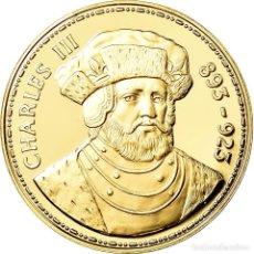 Medallas históricas: FRANCIA, MEDALLA, LES ROIS DE FRANCE, CHARLES III, HISTORY, FDC, ORO VERMEIL. Lote 195513321