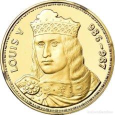 Medallas históricas: FRANCIA, MEDALLA, LES ROIS DE FRANCE, LOUIS V, HISTORY, FDC, ORO VERMEIL. Lote 195515406