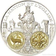 Medallas históricas: FRANCIA, MEDALLA, 2000 ANS D'HISTOIRE MONÉTAIRE, AGNEL D'OR, FDC, PLATA. Lote 195512392