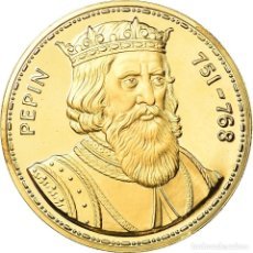 Medallas históricas: FRANCIA, MEDALLA, LES ROIS DE FRANCE, PÉPIN, HISTORY, FDC, ORO VERMEIL. Lote 195523687