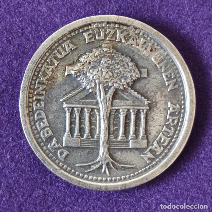 MEDALLA DE DABEDEINKATUA EUZKALDUNEN ARTEAN. EXILIATUREN EGUNA. IPARAGIRREREN OMENALDIA. 1877 - 1977 (Numismática - Medallería - Histórica)