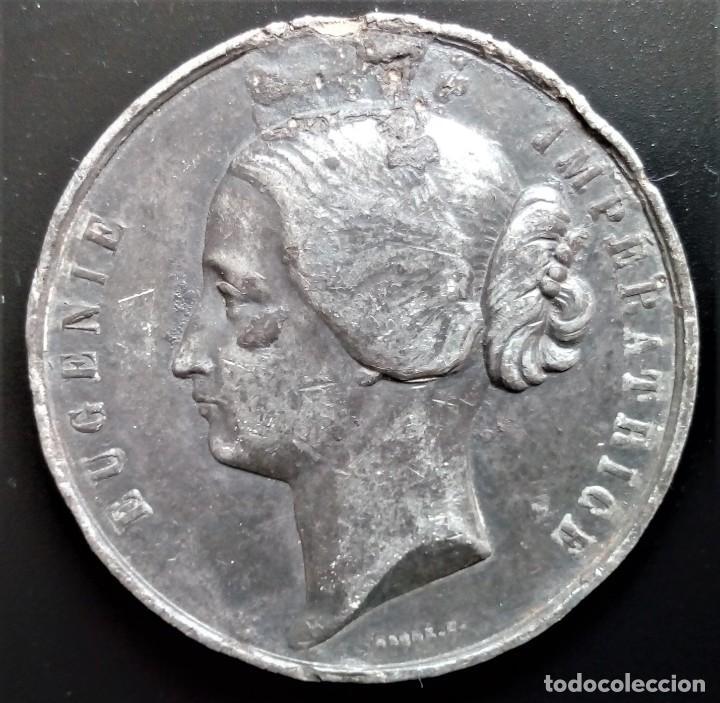 MEDALLA EUGENIA EMPRERATRIZ EUGENIE IMPERATRICE EXPOSICION UNIVERSAL PARIS 1855 INDUSTRIA (Numismática - Medallería - Histórica)