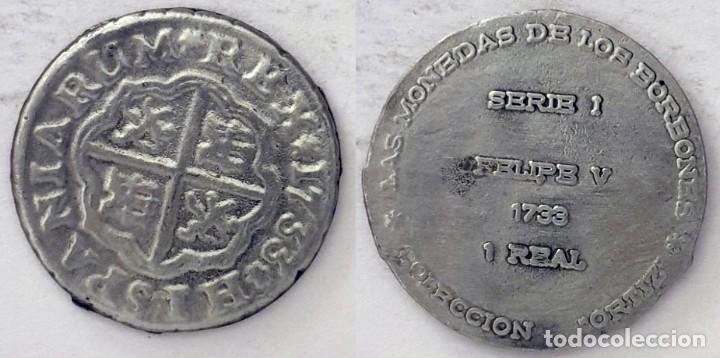 LAS MONEDAS DE LOS BORBONES. COLECCIÓN ORTIZ. 1 REAL 1733 FELIPE V. (Numismática - Medallería - Histórica)