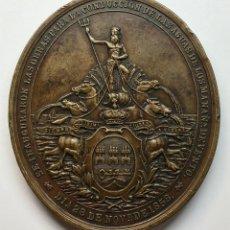 Medallas históricas: ¡¡ ESCASA ASI !! PRECIOSA MEDALLA DE BRONCE ISABEL II. 1858. CONDUCCION DE AGUAS A LA HABANA (CUBA). Lote 198370042
