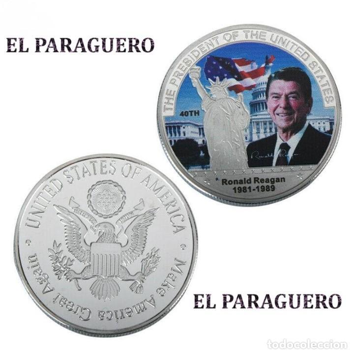 ESTADOS UNIDOS MEDALLA PLATA TIPO MONEDA ( HOMENAJE AL PRESIDENTE REAGAN ) - PESO 37 GRAMOS - Nº6 (Numismática - Medallería - Histórica)