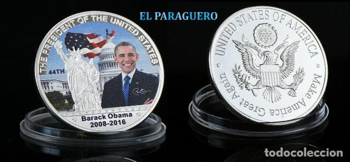 ESTADOS UNIDOS MEDALLA PLATA TIPO MONEDA ( HOMENAJE AL PRESIDENTE OBAMA ) - PESO 32 GRAMOS - Nº1 (Numismática - Medallería - Histórica)