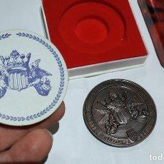 Medallas históricas: MEDALLA DE BRONCE CONMEMORATIVA DEL V CENTENARIO DE LA LONJA CON SU ESTUCHE Y DOCUMENTACIÓN PERFECTA. Lote 199973803