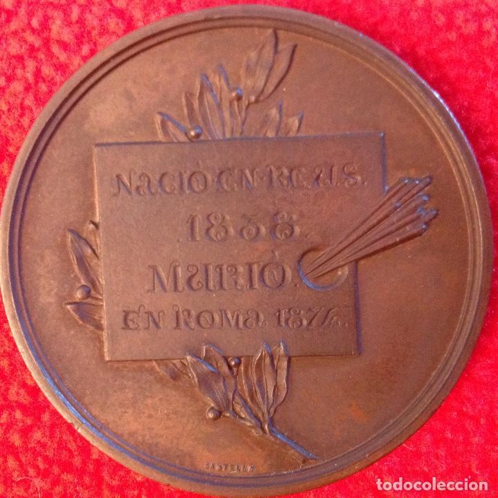 Medallas históricas: Medalla de bronce a Mariano Fortuny y Marsal, 1874, firmada: Jacinto Morató, edit. por Castells, - Foto 2 - 200013113