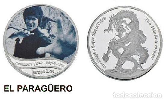 MEDALLA PLATA TIPO MONEDA ( HOMENAJE DE BRUCE LEE ) PESO 32 GRAMOS LEER DENTRO DESCRIPCION - Nº1 (Numismática - Medallería - Histórica)