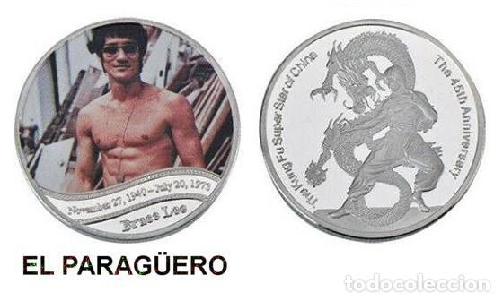 MEDALLA PLATA TIPO MONEDA ( HOMENAJE DE BRUCE LEE ) PESO 32 GRAMOS LEER DENTRO DESCRIPCION - Nº2 (Numismática - Medallería - Histórica)
