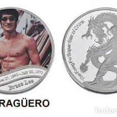 Medallas históricas: MEDALLA PLATA TIPO MONEDA ( HOMENAJE DE BRUCE LEE ) PESO 32 GRAMOS LEER DENTRO DESCRIPCION - Nº3. Lote 200081808