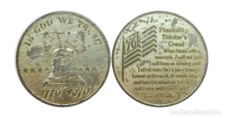 MEDALLA DE ESTADOS UNIDOS, CREDO DE ROBERT SCHULLER, 1776-1976 (Numismática - Medallería - Histórica)