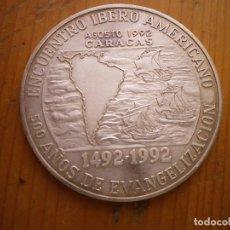 Medallas históricas: ENCUENTRO IBEROAMERICANO 1492 - 1992 500 AÑOS PLATA VENEZUELA CARRACAS 1992. Lote 205306043