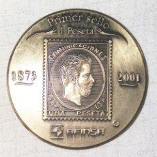 Medallas históricas: MEDALLA BRONCE CONMEMORATIVA DEL PRIMER Y ULTIMO SELLO DE 1 PTS.. Lote 205372867