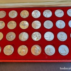 Medallas históricas: LOTE DE 28 MEDALLAS CONMEMORANDO EL DESCUBRIMIENTO DE AMERICA, PLATA 925. Lote 206141591