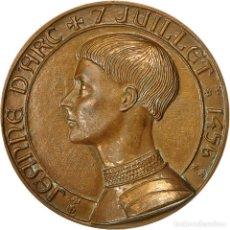 Medallas históricas: FRANCIA, MEDALLA, JEANNE D'ARC ,7 JUILLET 1456, HISTORY, COEFFIN, EBC, BRONCE. Lote 206147397