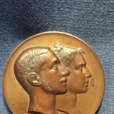 Medallas históricas: MEDALLA BRONCE CONMEMORATIVA ALFONSO XII MARIA MAERCEDES 1878 BASILICA ATOCHA SELLAN GRABADOR 7CMS. Lote 206450918
