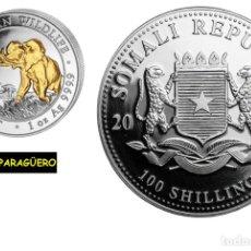 Medallas históricas: SOMALIA 100 SHILLINGS 2016 MEDALLA TIPO MONEDA ORO PLATA ( HOMENAJE AL ELEFANTE ) PESO 32 GRAMOS Nº1. Lote 206455145