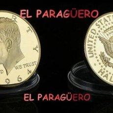 Medallas históricas: ESTADOS UNIDOS 1/2 DOLAR 1964 MEDALLA ORO TIPO MONEDA(HOMENAJE PRESIDENTE KENEDI)PESO 32 GRAMOS N2. Lote 206497578