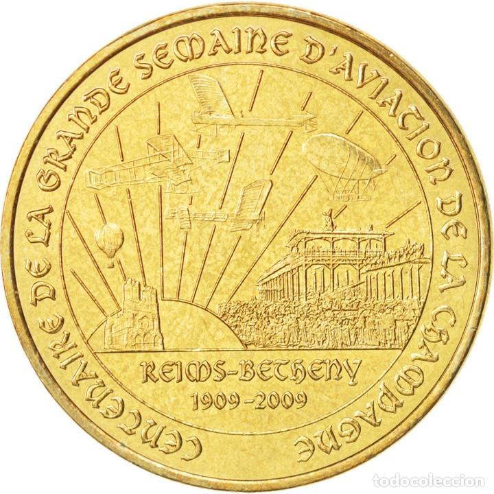 FRANCIA, TOKEN, REIMS - BETHENY - CENTENAIRE DE LA GRANDE SEMAINE DE L'AVIATION (Numismática - Medallería - Histórica)
