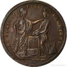 Medallas históricas: FRANCIA, TOKEN, SAVINGS BANK, 50 JETON, LA SAGESSE FIXE LA FORTUNE, MBC, COBRE. Lote 207049251