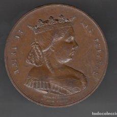 Medallas históricas: 19 FEBRERO 1865 MEDALLA ISABEL II CEDIO EL PATRIMONIO REAL PARA ALIVIO CARGAS PUBLICAS BRONCE 6,2 CM. Lote 207545536