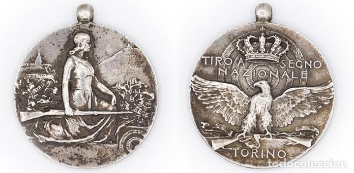 MEDALLA TIRO SEGNO NAZIONALE TORINO. PLATA. ITALIA. MEDALLA DE LA ASOCIACIÓN REAL NACIONAL TURÍN EBC (Numismática - Medallería - Histórica)